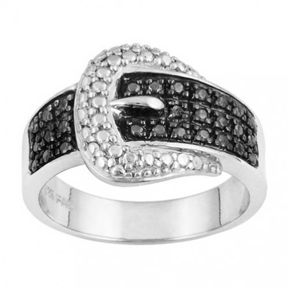 Bling Jewelry Pave CZ Band Black and White Belt Buckle Sterling Silver Ring TNF-R16cos0114
