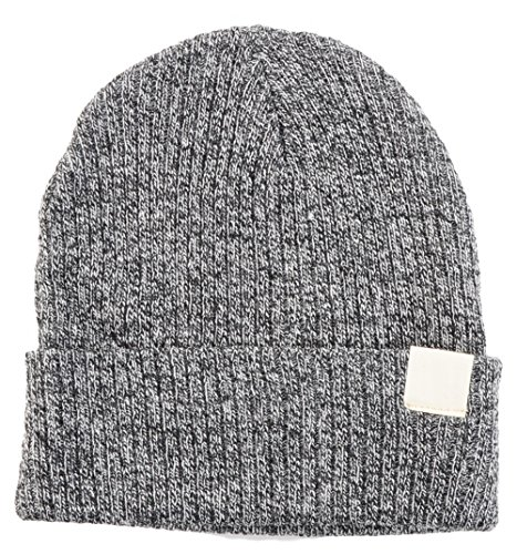 BYOS Cool Urban Mid-weight Ribbed Beanie Fisherman Knit Hat W/ Appliqué (Lt.Gray)