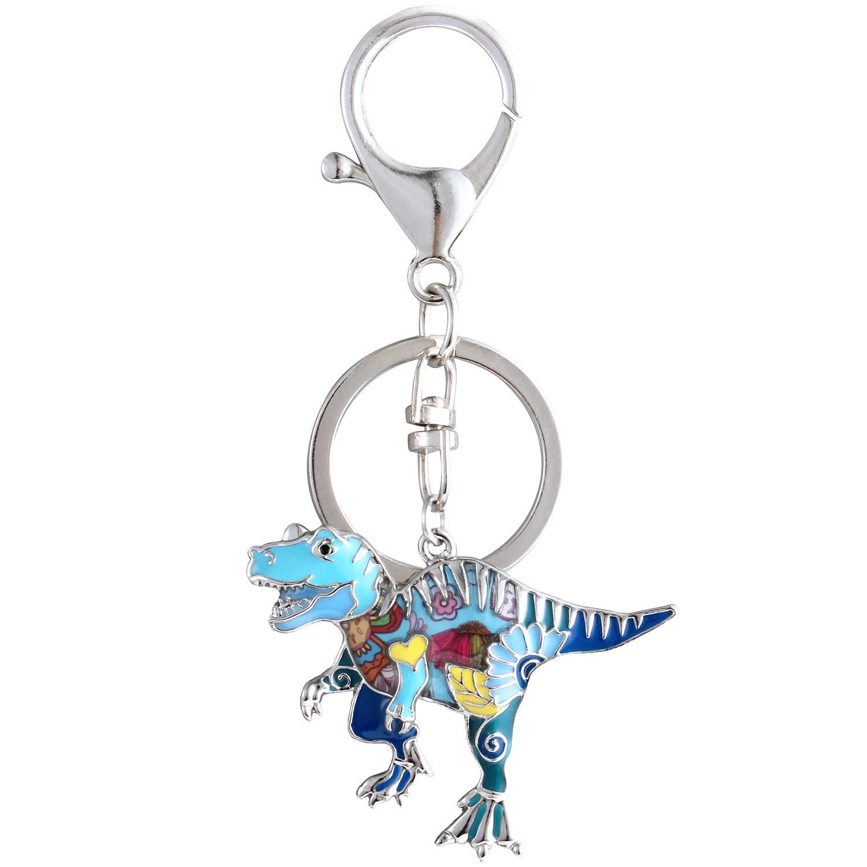 Luckeyui Cute Dinosaur Gift Keychain Women Unique Blue Enamel Tyrannosaurus Rex Keyring