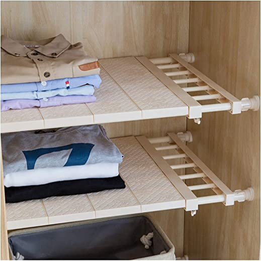 HyFanStr Adjustable Storage Rack Expandable Separator Shelf for Wardrobe, Cupboard, Bookcase Compartment Collecting Length 20.9 -35 , Width 11.8 , Brown