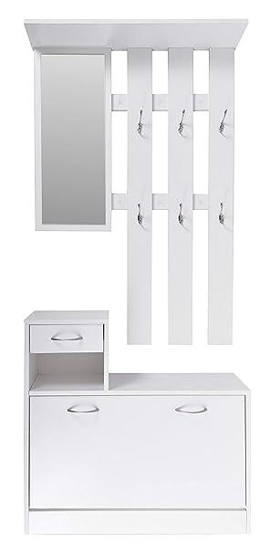 Ts Ideen Wand Garderobe Spiegel Schuhkipper Schuhschrank Mit Schublade Holz Weiss