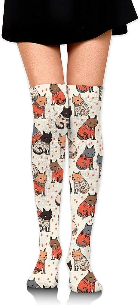 Gatos Que Usan suéteres Calcetines de compresión Medias largas ...
