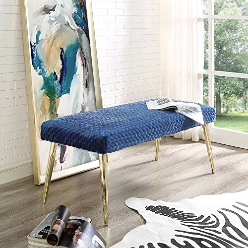 Lamonte Navy Faux Fur Bench - Textured Leaf Upholstered   Gold Metal Legs   Living Room, Entryway, Bedroom   Inspired Home (Upholstered Footrest)