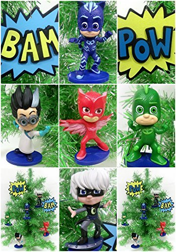 PJ Masks 7 Piece Christmas Tree Ornament Set Featuring Catboy, Owlette, Gekko, Romeo, Luna Girl, Bam and Pow Ornaments