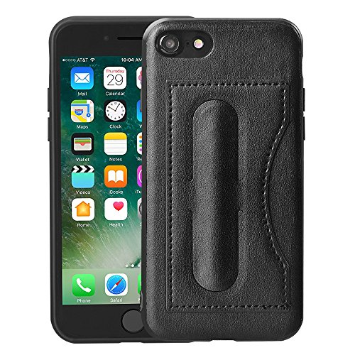 iPhone 7/8 Wallet Case, Kickstand Case, MagicSky Ultra Slim Premium PU Leather Shock-Absorbing Protective Bumper Cover with Foldable Kickstand and Credit Card Slot for Apple iPhone 7/8 - Black