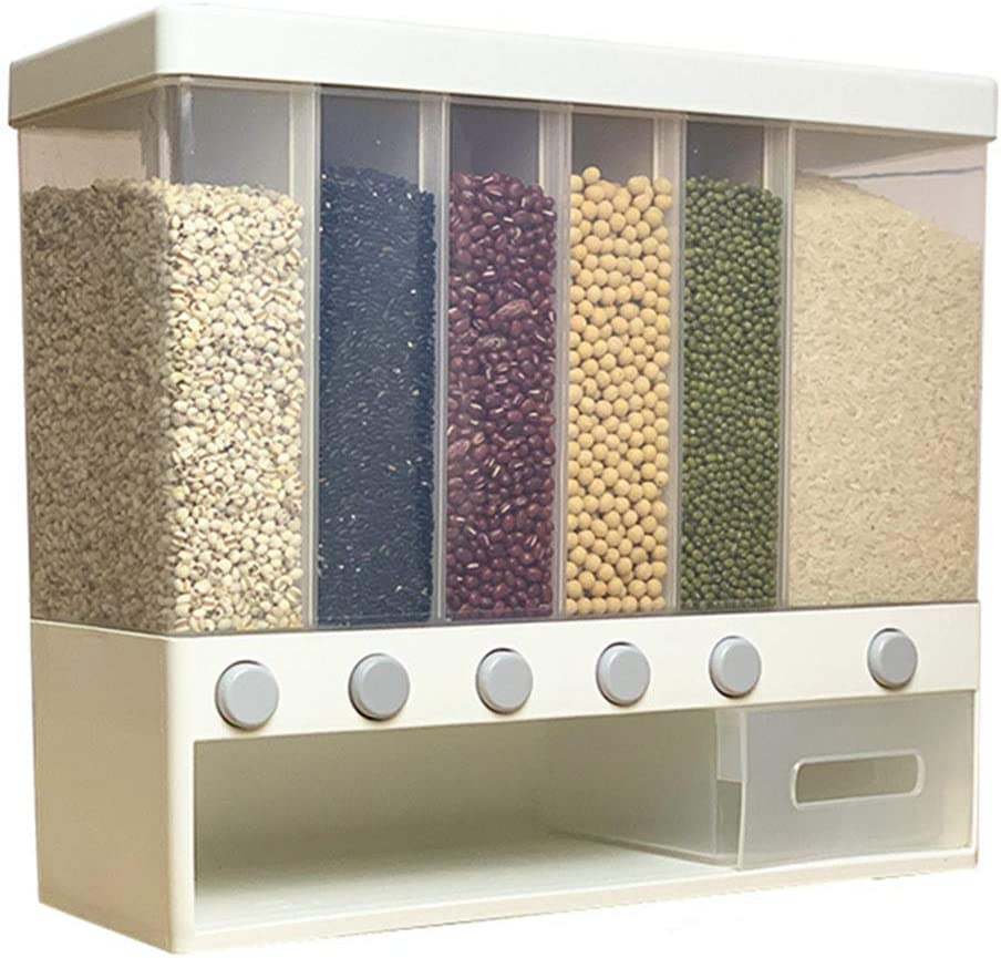 Wall Mounted Whole Grains Dispenser with Largre Capacity 6-Grid Storage Automatic Rice Barrels Sealed Food Storage Box for Rice Cereal