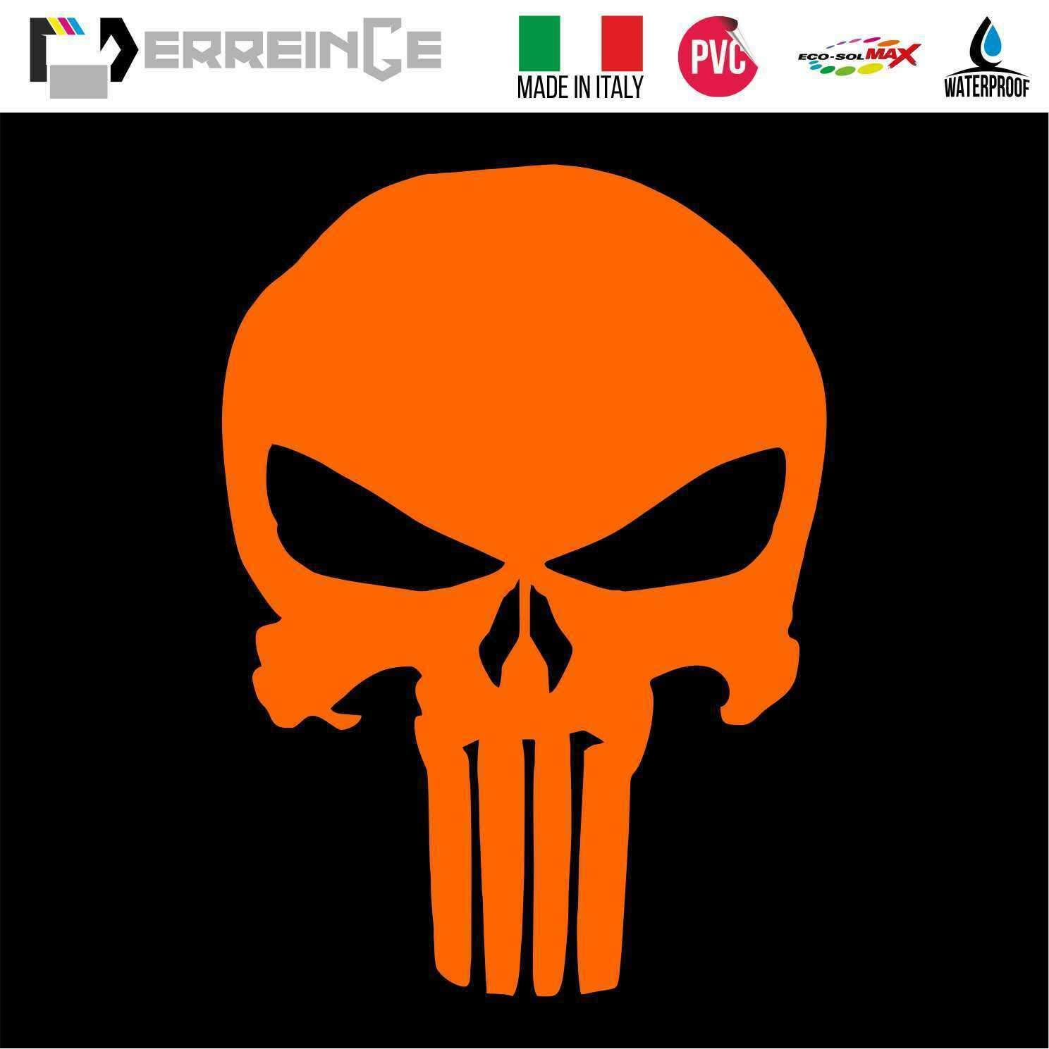 Adesivo Decal Decalcolmania Vinile Murale Laptop Auto Moto Casco Camper ERREINGE STICKER PRESPAZIATO BIANCO 15cm Punisher Teschio Skull