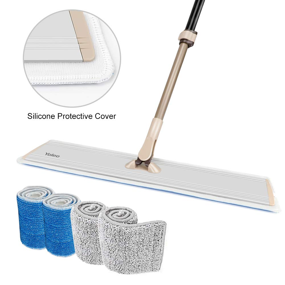 Flat Mop for Floor Cleaning Yelo Microfiber Mop for Hardwood Laminate Tile/4 Reusable Mop Pads/Stainless Steel Handle with Extension