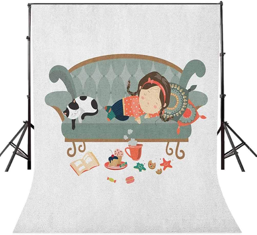 9x16 FT Kitten Vinyl Photography Backdrop,Sleeping Young Girl with Her Cat at Sofa Coffee Cookies Book and Candy Pastel Colors Background for Party Home Decor Outdoorsy Theme Shoot Props