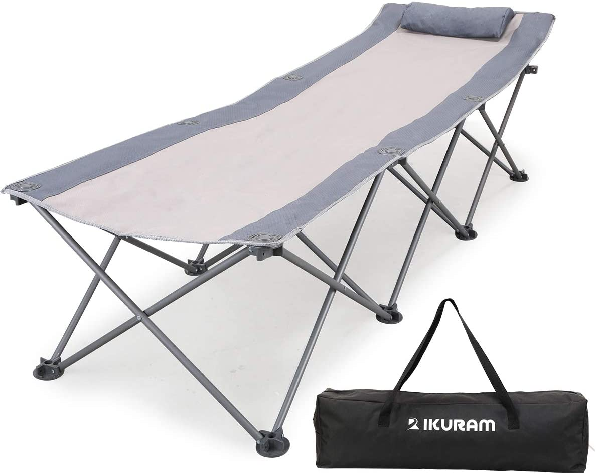 74inch Heavy Duty Outdoor Folding Camping Bed Portable with Carry Bag UK P1G1