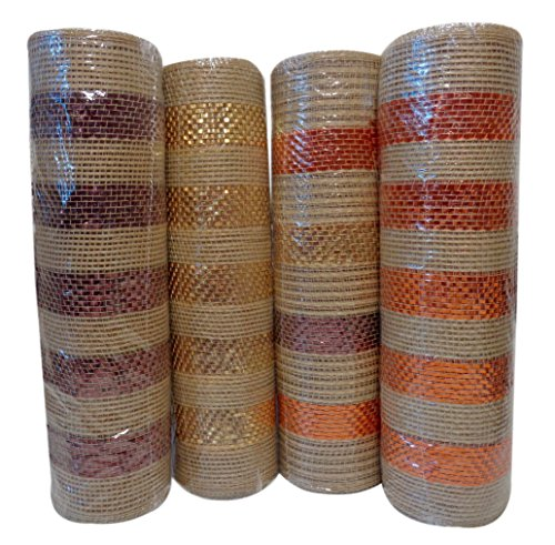 Cheap Autumn Colors Metallic Striped Extra Wide Mesh Ribbon, 10 in X 6 yd, Pack of (4) Rolls (Assorted) supplier
