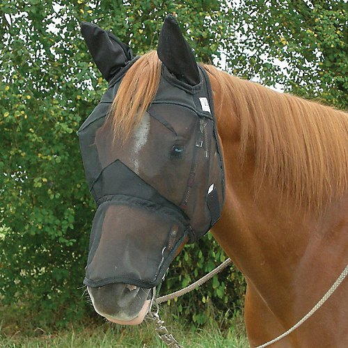 Crusader Fly Mask - Cashel Nose Fly Mask with Long Nose and Ears for Horses, Black, Fly Protection