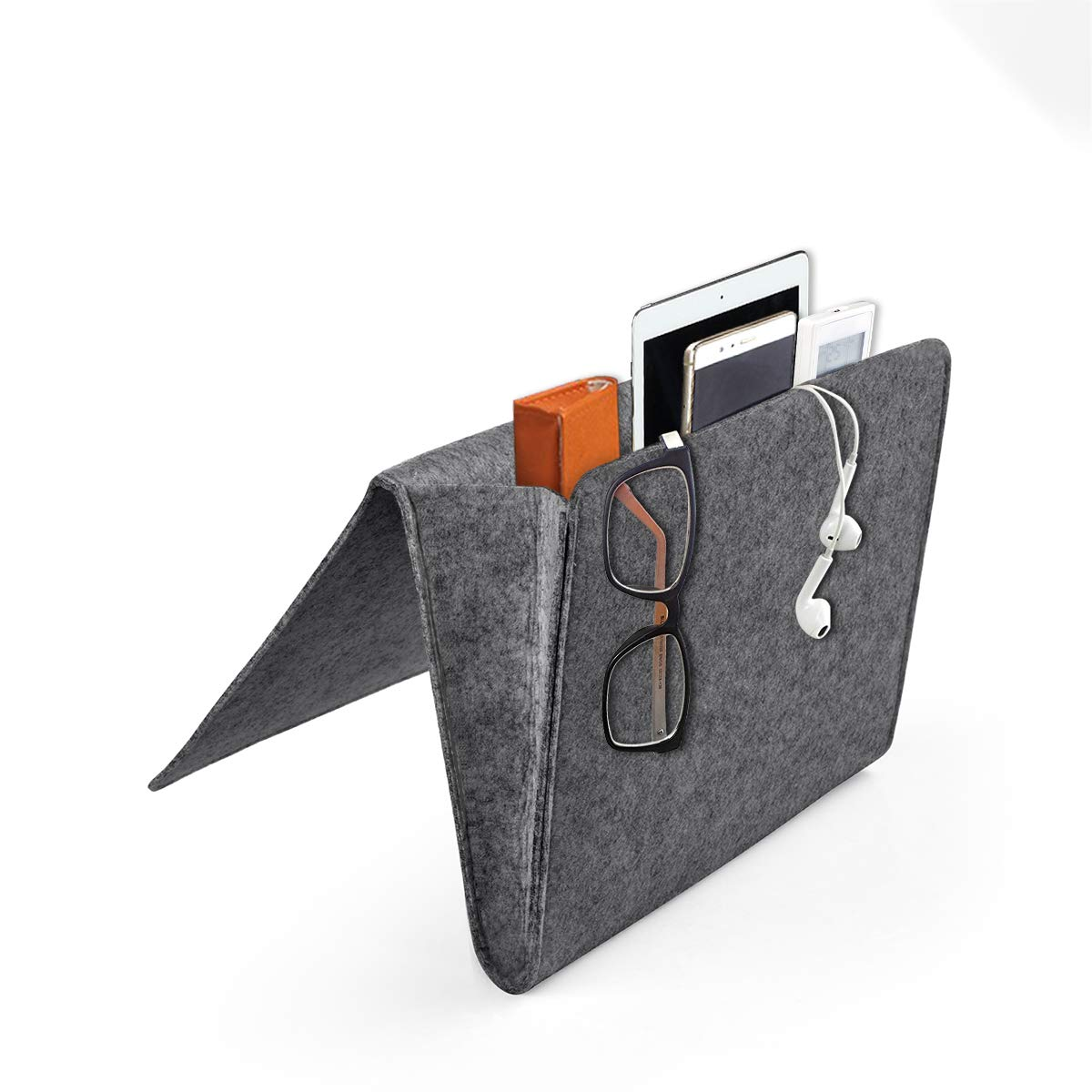 Daite 0.2 Inches Thick Felt Bedside Caddy Pocket, Inside with 2 Small Pockets for Organizing Phone, Remote, Magzine, Glasses and Pen (Dark Grey) Winstar Electronics Tech co. ltd