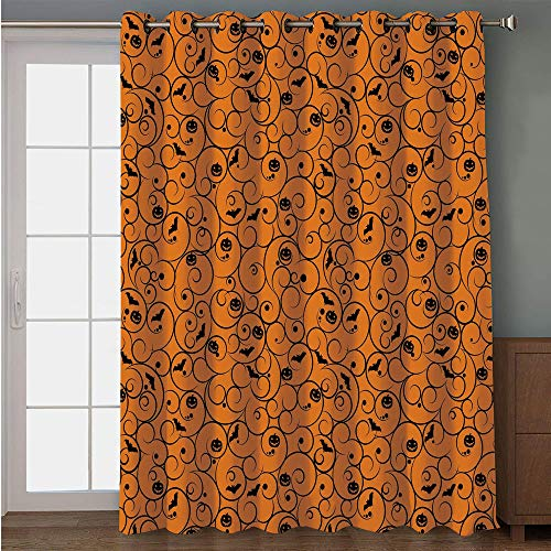 iPrint Blackout Patio Door Curtain,Halloween,Floral Swirls with Dots Little Bats Open Wings and Pumpkins Seasonal Pattern,Orange Black,for Sliding & Patio Doors, 102