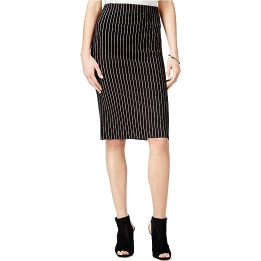 54ba25d87 Bar III $60 Womens New 1237 Black Pinstripe Fringed Pencil Skirt L B ...