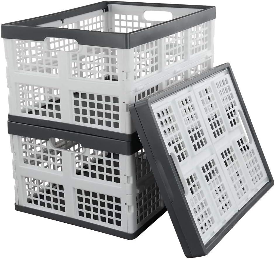 Qsbon 30 L Plastic Folding Storage Crates, Collapsible Basket, Set of 3
