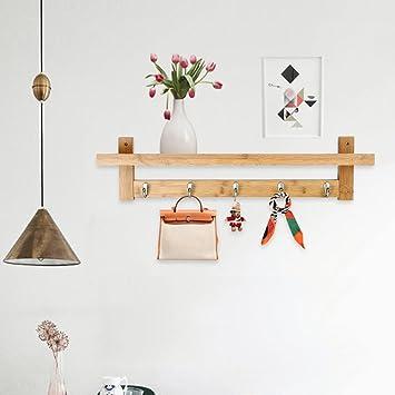 Estante de Pared de Bambú Perchero con 5 Ganchos de Aleación para el Dormitorio & la Cocina & el Baño & la Decoración del Hogar(Natural)