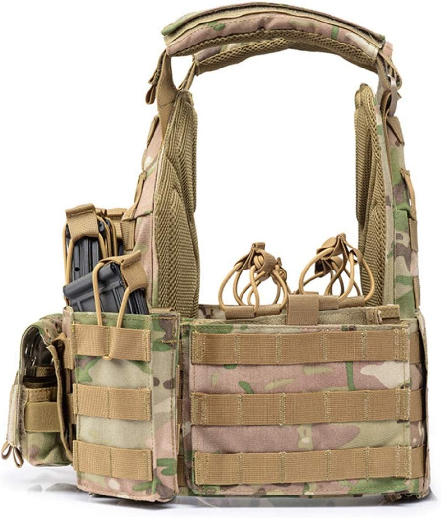 HUAJIANGHU Plaque en Nylon 1000D Porte-Tactique Gilet Outdoor Chasse Gilet De Protection R/églable for Accessoires De Combat Hommes Airsoft Gilets