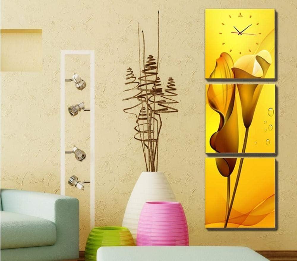 WFQGZ Reloj de Pared Mural Entrada decoración Pintura sin Marco Pintura Reloj de Pared Sala tríptico Estilo Europeo galería de Pared Pintura Colgante impresión Vertical Cala Cal