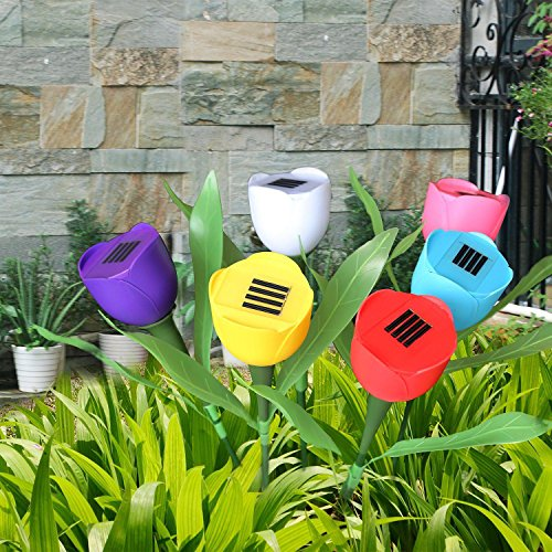 Julitech Solar Lights Tulip Flowers 6 pcs Outdoor Landscape Lamp for Pathway,Path,Garden,Lawn,Courtyard,Corridor,Patio,Porch with Smarthing 7 Colors Wireless,Waterproof