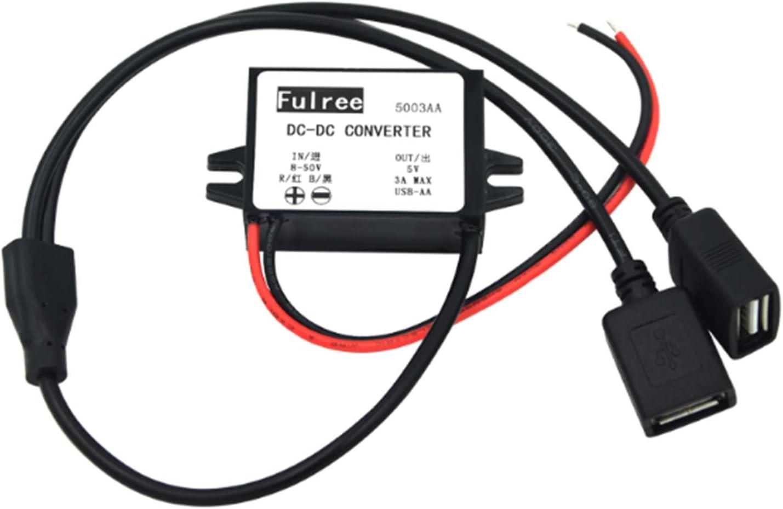 USB Buck Convertidor,Yeeco DC-DC 8-50V 12V 24V 36V 48V a 5V 3A //15W Reductor de voltaje a prueba de agua,Adaptador de Corriente para Autom/óvil M/ódulo Transformador conector hembra tipo A USB doble
