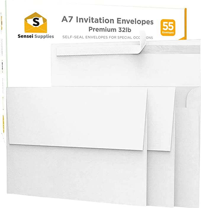 Amazon Com 55 5x7 White Invitation Envelopes For 5x7 Cards A7 5 X 7 Inches Perfect For Weddings Graduations Baby Showers 120 Gsm 32lb 80lb