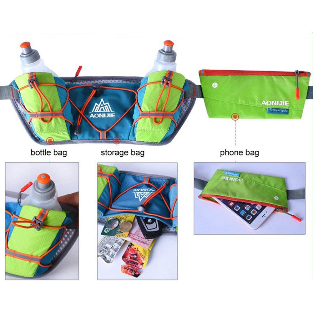Aonijie Hydration Running Belt With Zipper Pockets Multifunctional Waist Bag Blue Green Lightweight Adjustable For Cycling Jogging Hiking