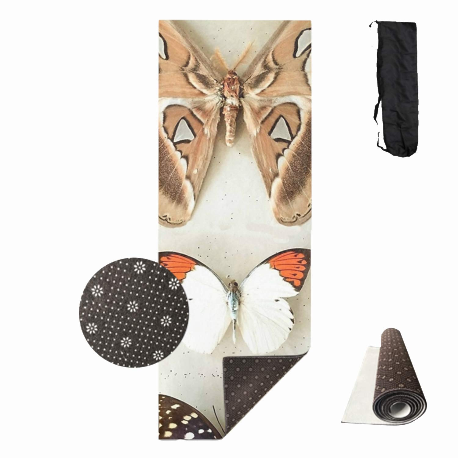 HHNYL Non Slip Eco-Friendly Floor Pilates Exercise Butterflies and Moths Mat for Yoga, Workout, Fitness with Carrying Bag 6mm