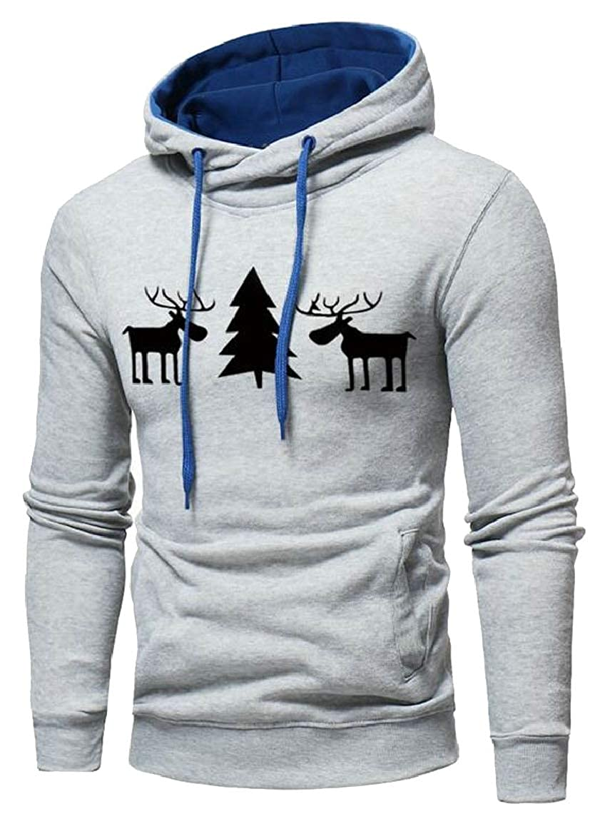 HTOOHTOOH Mens Deer Print Christmas Hooded Sweatshirt Outwear