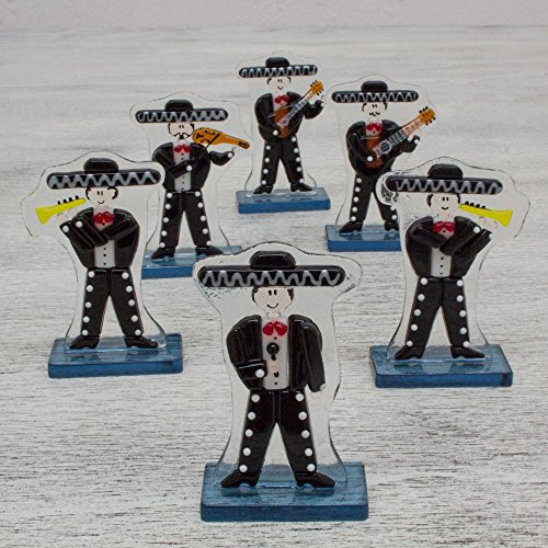 NOVICA Black Dance and Music Glass Sculpture, 3.3'' Tall, Handsome Mariachi' (Set of 6) by NOVICA (Image #2)
