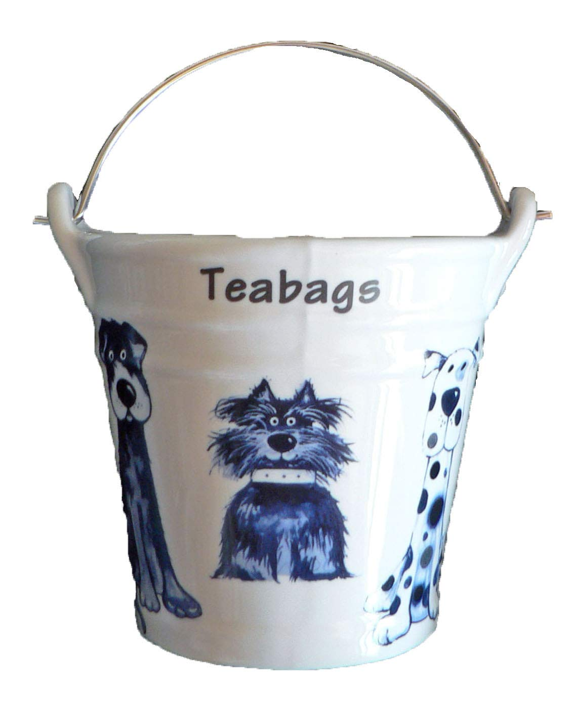 Dogs (Blue Dogs) Design Bucket Teabag Tidy, Porcelain Bucket Teabag Tidy crackinchina