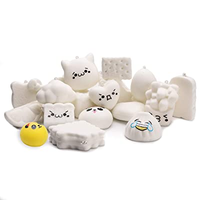 WATINC Random 10 Pcs DIY Squishy Cream Scented Kawaii Simulation Lovely Toy Medium Mini Soft Food Squishies Bread Toys Keychains, Phone Straps, Bonus Random Emoji Stickers: Toys & Games