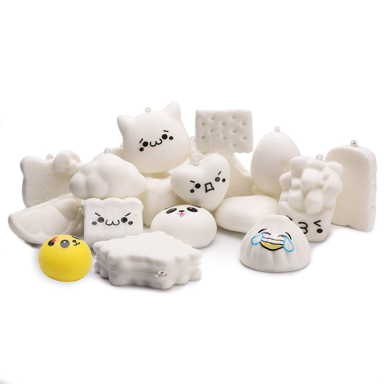 WATINC Random 10 Pcs DIY Squishies Cream Scented Slow Rising Kawaii Simulation Lovely Toy Medium Mini Soft Food Squishies Bread Toys Keychains, Phone Straps, Bonus Random Emoji Stickers