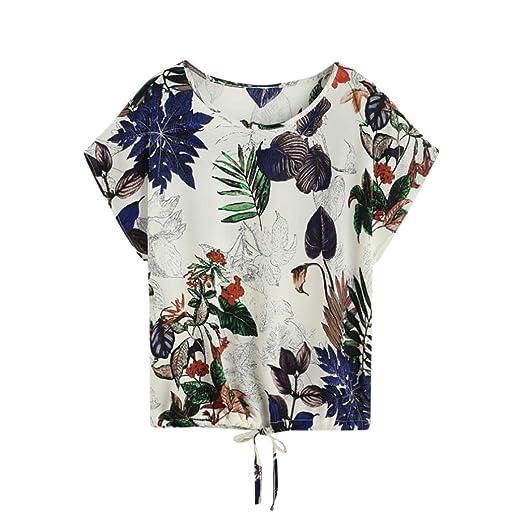 Teresamoon Clearance Deal Women Leaves Print Short Sleeve Blouse T Shirt (Multicolor, US XS