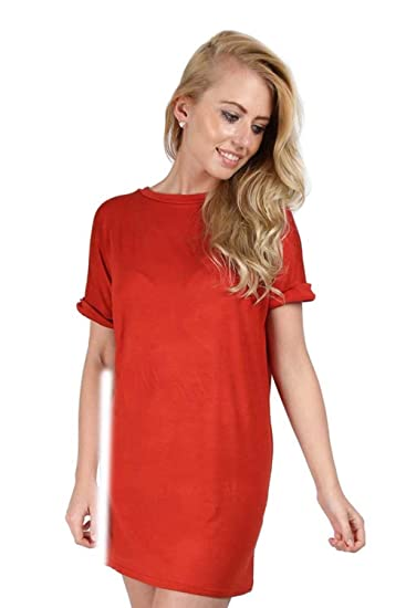 Amazon.com  Oops Outlet Women Plain Stretchy Baggy Oversized Turn Back  Sleeve T-Shirt Dress  Clothing 3d5ac471f0
