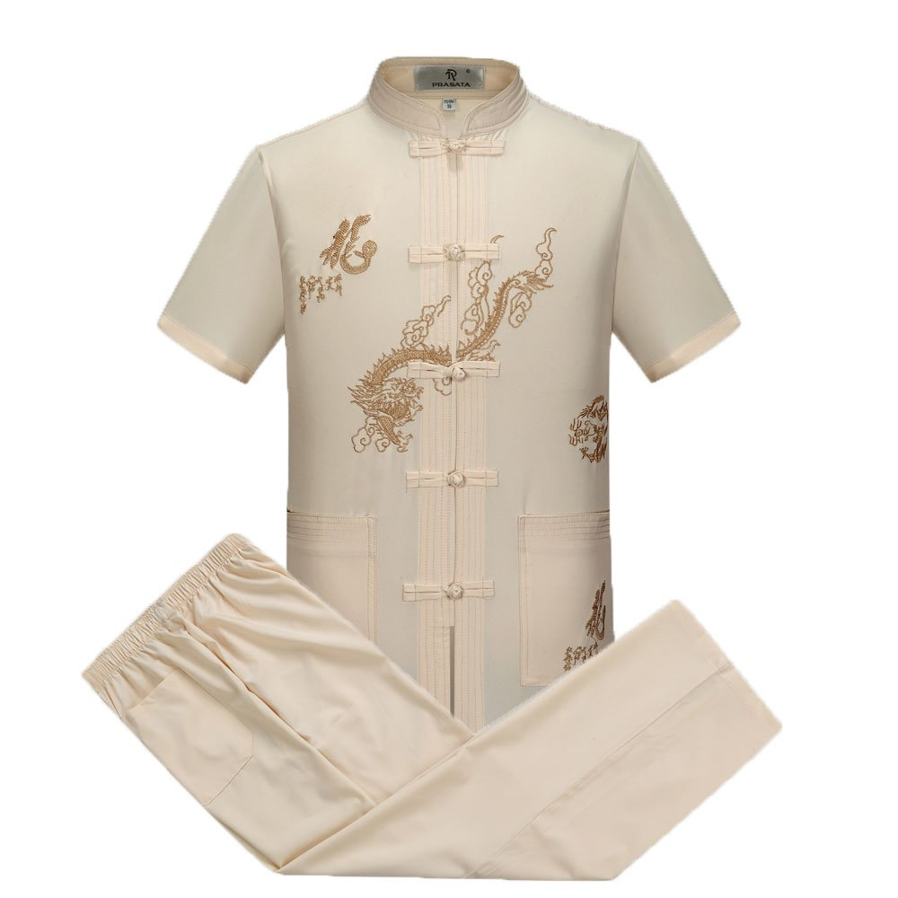 Tang Suit Men Traditional Chinese Clothing Suits Hanfu Cotton Short sleeve shirt coat Mens Tops and pants (XXL, Beige)