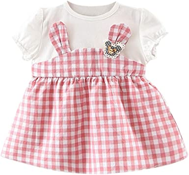 Summer Baby Girl Easter Dresses Bunny Striped Princess Party Dress Clothes 1-5Y