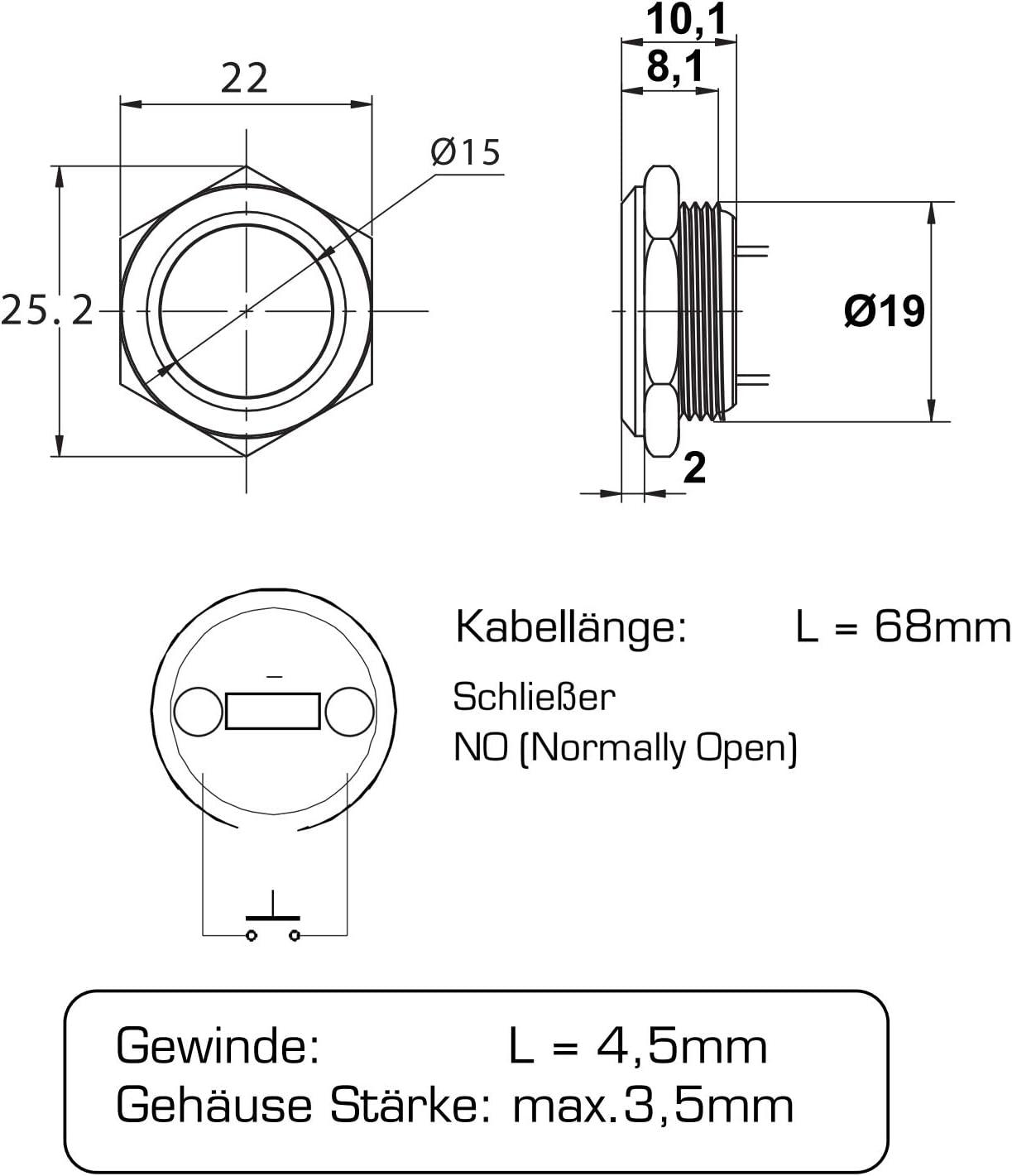 25/x 5/mm filetage Diam/ètre 10/mm en acier inoxydable Vis auto-taraudeuse