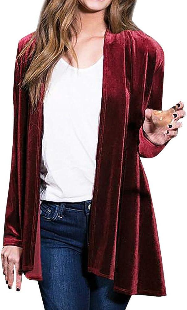 LEXUPE Women Autumn Winter Warm Comfortable Coat Casual Fashion Jacket Solid Regular Frill Slim Fit Long Sleeve Peplum Velvet Coat Cardigan