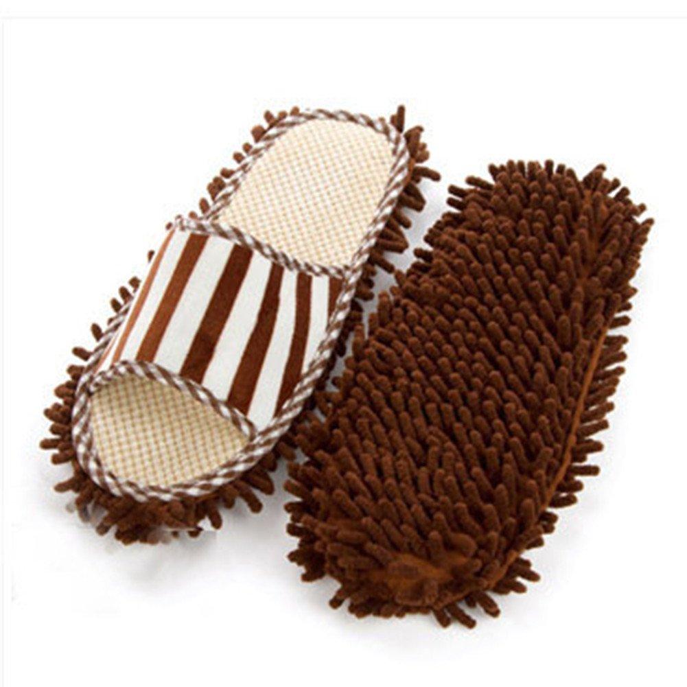 2 Pack- Slipper Genie Microfiber Pair House Floor Polishing Dusting Cleaning Foot Socks Shoes Mop Slippers Coffee
