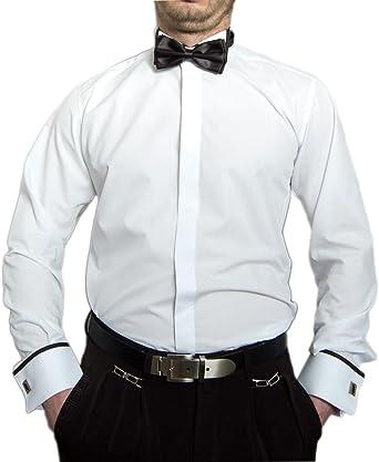 Hombre Designer Smoking Camisa Blanco Negro Pajarita Slimfit Camisa entallado Gemelos Smoking manga larga cuello Weiß S / 39: Amazon.es: Ropa y accesorios