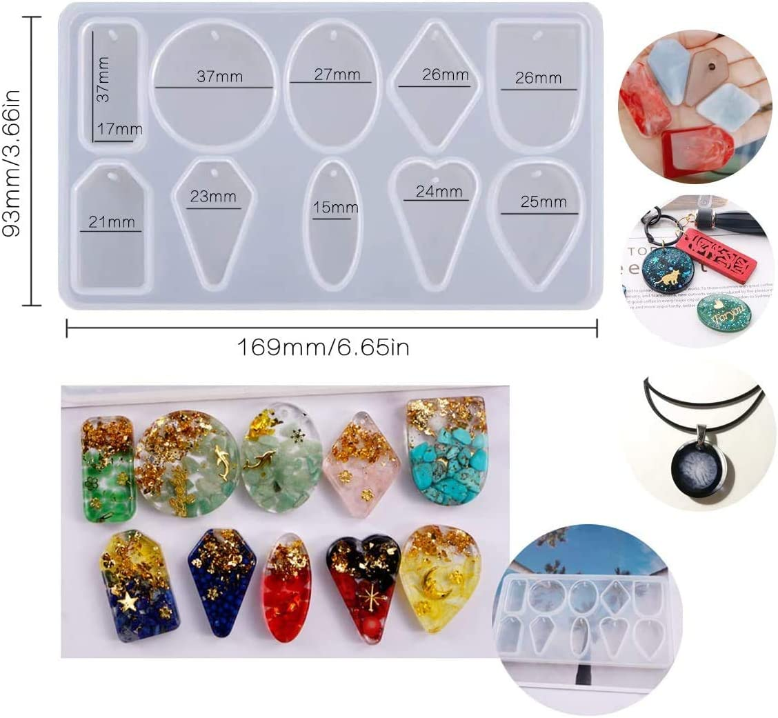 Jewelry Resin Molds,Geometry Pendant Casting Epoxy Silicone Mold with Holes for Concrete Plaster Polymer Clay 10-Cavity