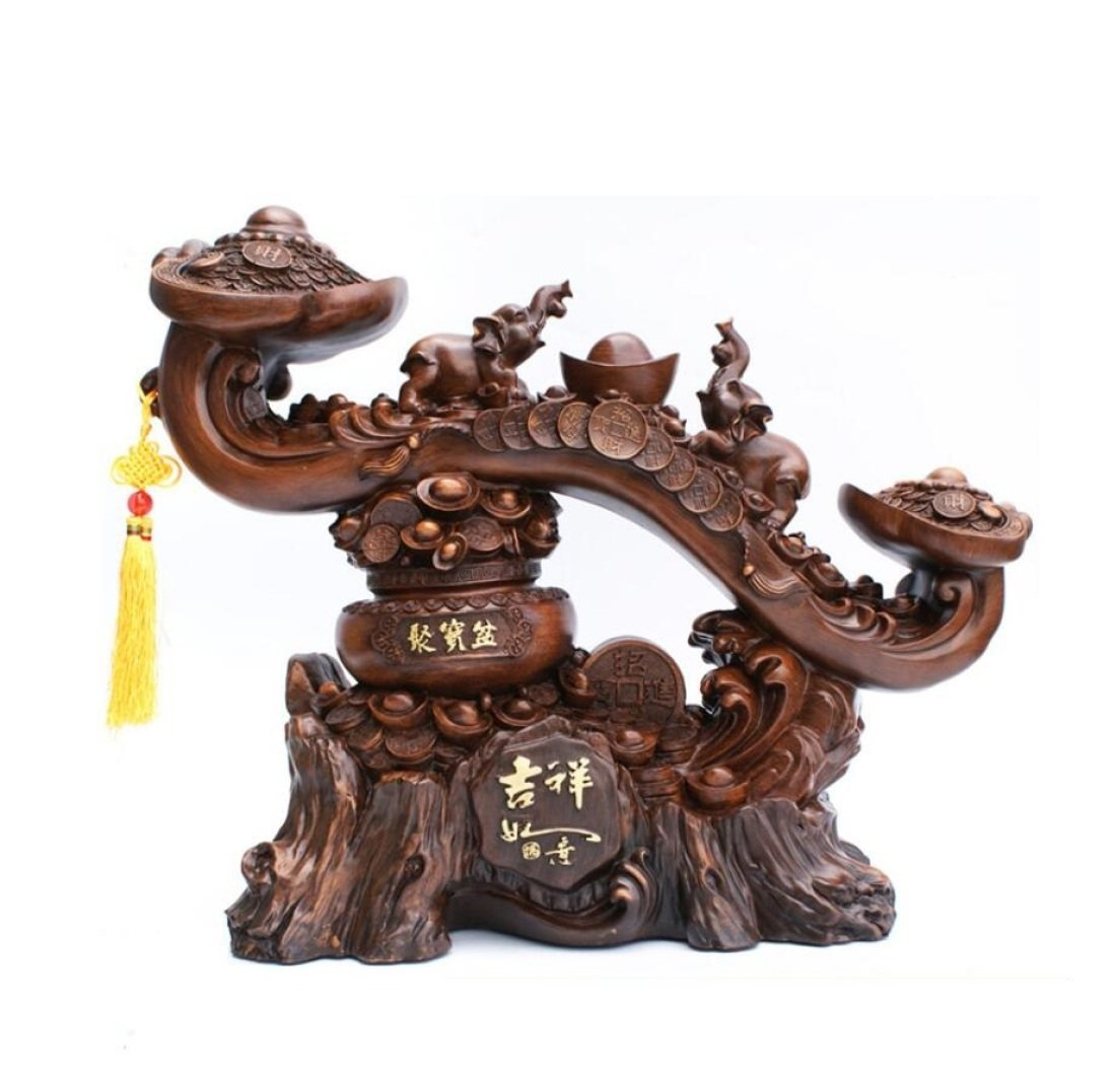GL&G Chinese mascot Like Decoration Lucky crafts High-end office Shop Living room Tabletop Scenes Ornaments Sculptures Statues Business gift,551947cm by GAOLIGUO
