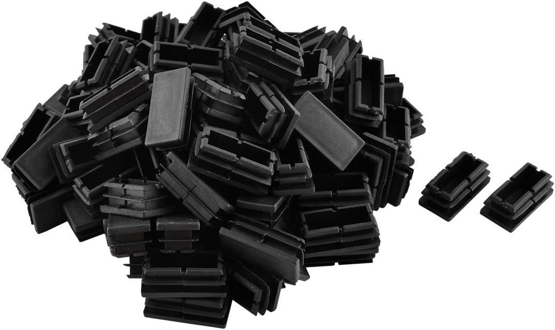 uxcell Plastic Rectangular Shaped Home Office Furniture Table Chair Leg Feet Tube Insert 100 Pcs Black