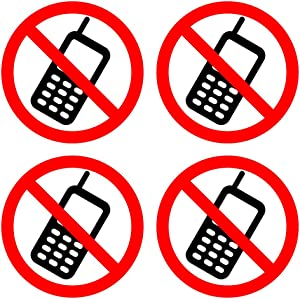 dealzEpic - No Cell Phone/Mobile Phone is Prohibited Sign | Self Adhesive Vinyl Decal Sticker | Pack of 4 Pcs