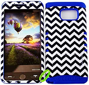 Cellphone Trendz HARD & SOFT RUBBER HYBRID ROCKER HIGH IMPACT PROTECTIVE CASE COVER for SAMSUNG GALAXY NOTE 5 - Black And White Chevron Snap Design Hard on Turquoise Silicone