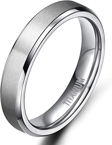 4mm wide 18K Yellow Gold and Brushed Titanium Wedding ring band for men and women