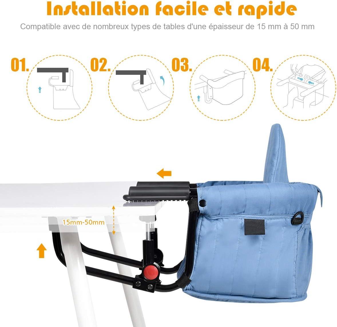 COSTWAY Si/ège de Table Pliante pour B/éb/é 6-12Mois Fixation Stable avec Ceinture De S/écurit/é,Poche de Rangement Capacit/é de Charge Maximale 15KG pour Maison,Voyages