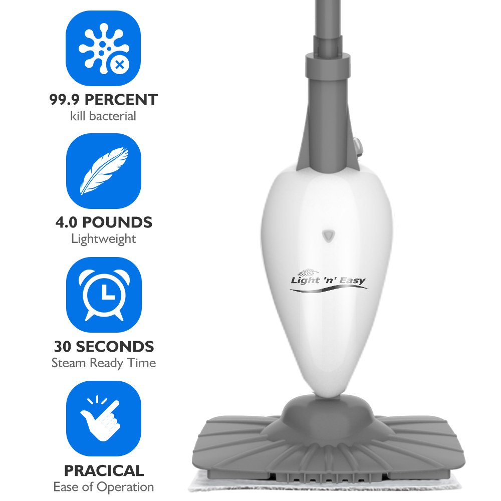 Steam Mop Floor Steamers for Hardwood and Tile,Carpet Steamer Cleaners With Swivel Head Steam Mops for the Cleaning by LIGHT 'N' EASY