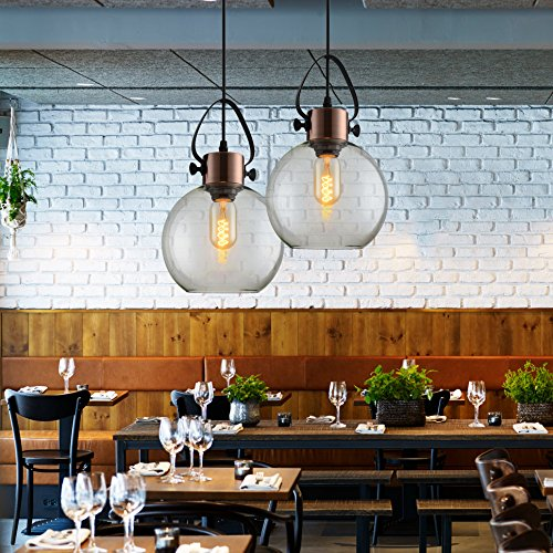 MSTAR Vintage Industrial Glass Globe Pendant Light Copper E26 40W Edison Ceiling Hanging Light With Clear Glass Shade